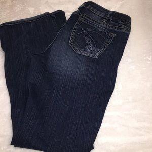 Silver Aiko Dark Wash Wide Flare Leg Jeans Size 14